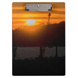 モンテビデオウルグアイの空中写真の日没場面 クリップボード