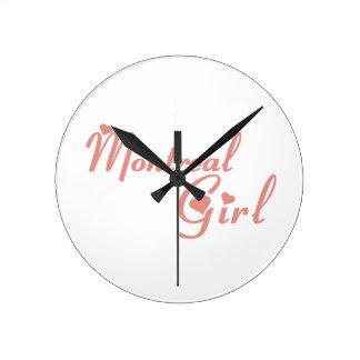 モントリオールの女の子 ラウンド壁時計