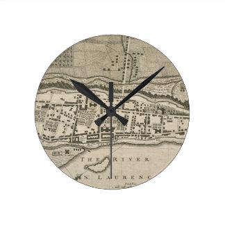 モントリオール(1758年)のヴィンテージの地図 ラウンド壁時計
