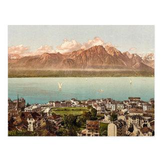 モントルーのサヴォイ山、geneva湖、Switzerlan ポストカード