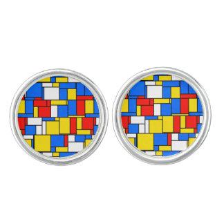 モンドリアンによってインスパイアスタイル赤く青く黄色いパターン カフスボタン
