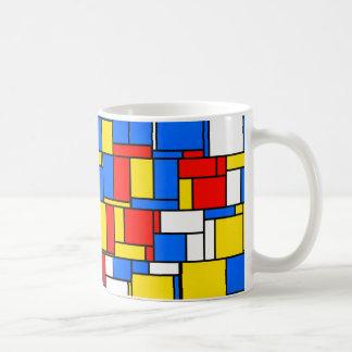 モンドリアンによってインスパイアスタイル赤く青く黄色いパターン コーヒーマグカップ