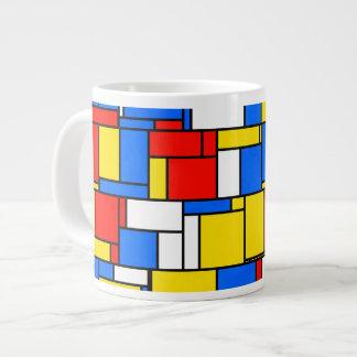 モンドリアンによってインスパイアスタイル赤く青く黄色いパターン ジャンボコーヒーマグカップ