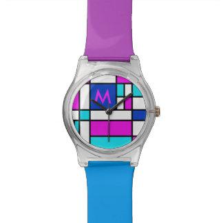モンドリアンのすみれ色の紫色の青い腕時計 腕時計