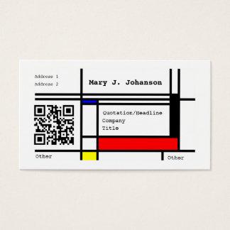 モンドリアンのカッコいいのデザインカスタムなQRのコード 名刺