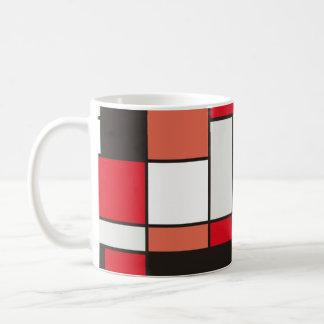 モンドリアンのスタイルのイラストレーション コーヒーマグカップ