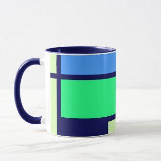 モンドリアンのスタイルのデザインの青緑 マグカップ