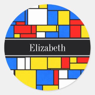 モンドリアンのスタイルの赤く青く黄色く黒い一流のモノグラム ラウンドシール