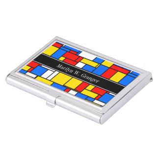 モンドリアンのスタイルの赤く青く黄色く黒い一流のモノグラム 名刺入れ