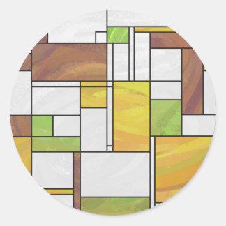 モンドリアンのブラウンの黄色緑のプリント ラウンドシール