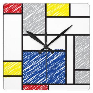 モンドリアンのミニマリストはモダンな芸術の柱時計を走り書きします スクエア壁時計