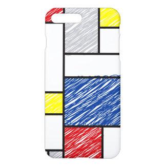 モンドリアンのミニマリストはモダンな芸術のiPhoneの場合を走り書きします iPhone 8 Plus/7 Plusケース