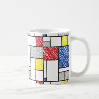 モンドリアンのミニマリストは近代美術のマグを走り書きします コーヒーマグカップ