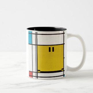 モンドリアンの幸せな顔のマグ ツートーンマグカップ
