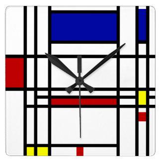 モンドリアンの近代美術 スクエア壁時計