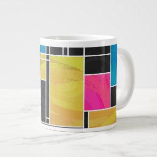 モンドリアンの青いピンクの黒いプリント ジャンボコーヒーマグカップ