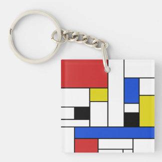 モンドリアンは正方形(両面の) Keychainを並べます キーホルダー