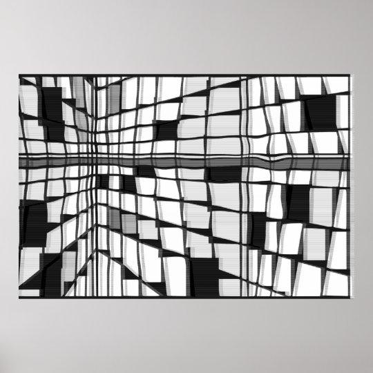 モンドリアンシティ7ウェーブ (白黒) ポスター