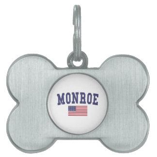 モンロー米国の旗 ペットネームタグ