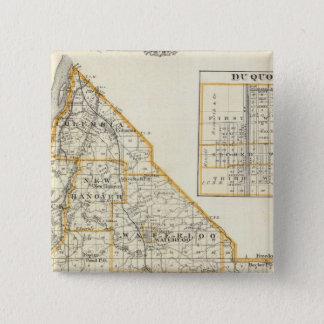 モンロー郡、DuQuoinおよびウォータールーの地図 5.1cm 正方形バッジ
