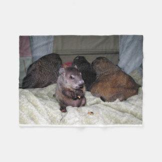 モーゼおよび女の子のGroundhogのフリースブランケット フリースブランケット