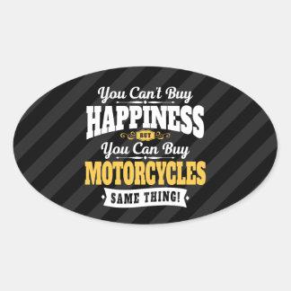 モーターサイクリストの傾斜の買物の幸福はオートバイを買うことができます 楕円形シール