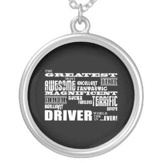 モータースポーツのレーサーの最も素晴らしい運転者の世界 シルバープレートネックレス