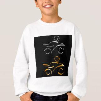 モーターバイクおよびバイクもしくは自転車に乗る人の抽象的なスケッチ スウェットシャツ