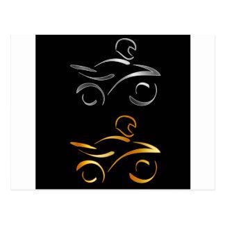 モーターバイクおよびバイクもしくは自転車に乗る人の抽象的なスケッチ ポストカード