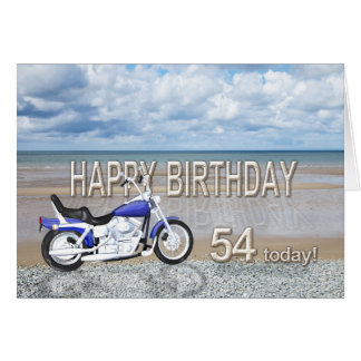 モーターバイクが付いている第54バースデー・カード グリーティングカード
