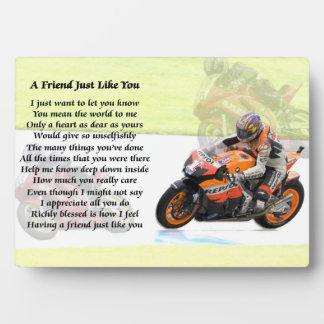 モーターバイクのデザイン-友人の詩のプラク フォトプラーク