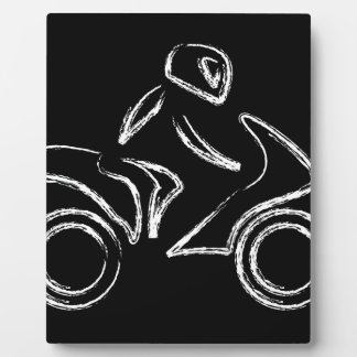 モーターバイクのバイクもしくは自転車に乗る人 フォトプラーク