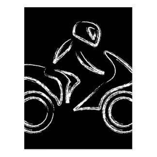 モーターバイクのバイクもしくは自転車に乗る人 ポストカード