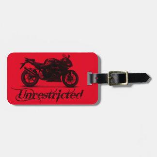 """モーターバイクの""""制限されていない""""赤い荷物のラベル ラゲッジタグ"""