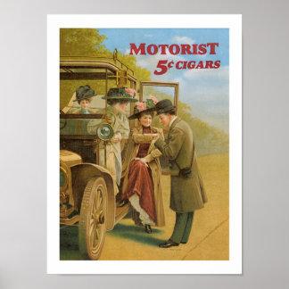モーターリストのシガーの自動車広告のヴィンテージの芸術ポスター ポスター