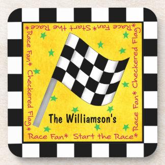 モーター競争ファンの名前入りなチェック模様の旗の名前 コースター