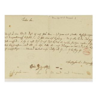 モーツァルトからのフリーメーソン会員への手紙、1786年1月 ポストカード