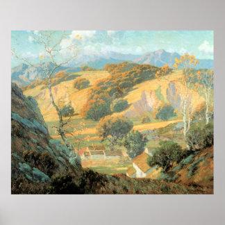 モーリスBraun著カリフォルニア谷の農場、 ポスター