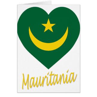 モーリタニアの旗のハート カード