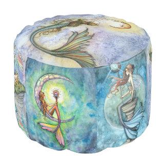 モーリーのハリスンの水彩画の人魚の芸術のラウンドパフ プーフ