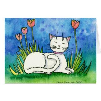モーリーハリスンによるきざで白い猫カード カード