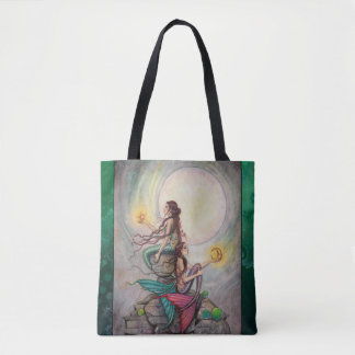 モーリーハリスンによるジェミニ人魚のファンタジーの芸術 トートバッグ