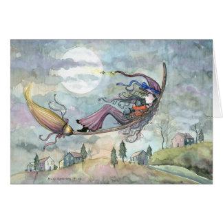 モーリーハリスンによるハロウィンの魔法使い猫カード カード