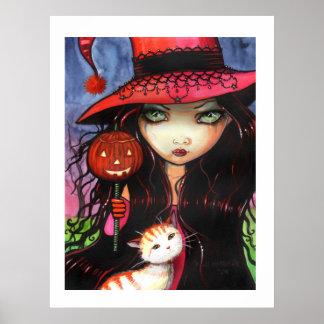 モーリーハリスンによるハロウィンポスター魔法使い猫 ポスター