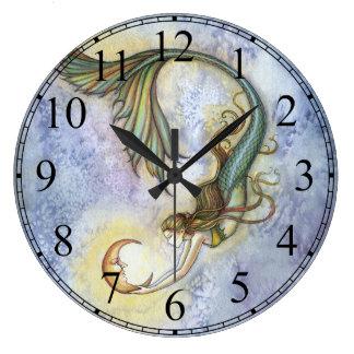 モーリーハリスンによる深海の月の人魚の時計 ラージ壁時計