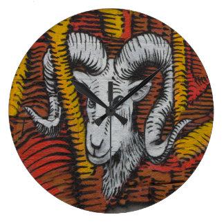 ヤギのヒツジのラムの落書きの年 ラージ壁時計
