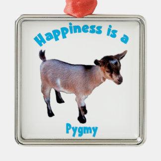 ヤギのピグミーの幸福 メタルオーナメント