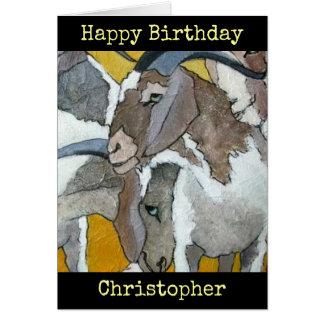 ヤギの名前入りなハッピーバースデーの芸術カード カード