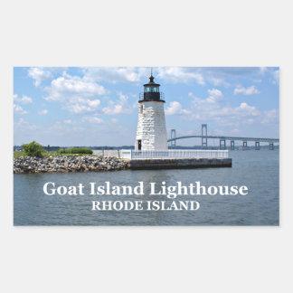 ヤギの島の灯台、ロードアイランドのステッカー 長方形シール