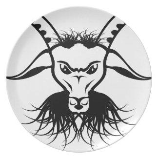 ヤギのSatanの悪魔の悪のベクトル プレート